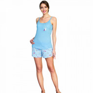 Pijamale Dama Vienetta, 'Yummy Bunny' Culoare Albastru