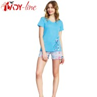 Pijamale Vienetta Secret, Bumbac 100%, 'Spring Is Here' Blue
