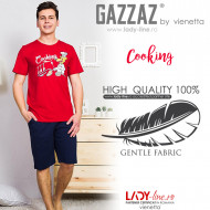 Pijamle Barbati Marimi Mari Gazzaz by Vienetta Model 'Coocking' Red