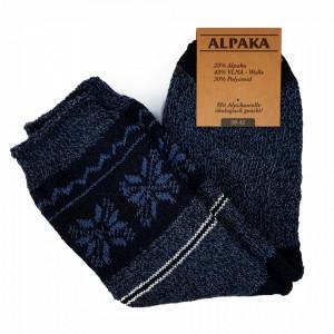 Sosete Calduroase din Lana de Oaie Naturala si Alpaka 'Winter' Dark Blue