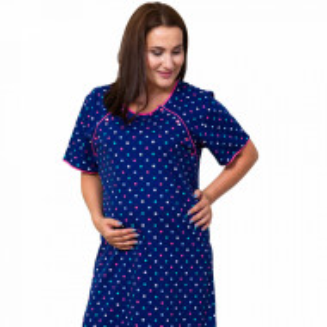 Camasa pentru Gravide si Alaptat XXL Vienetta 'Happy Dots' Blue