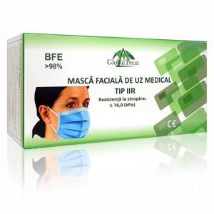 Masca Faciala Medicala Tip 2R cu 3 Straturi si Rezistenta la Stropire Globaltreat Cutie 50 Bucati