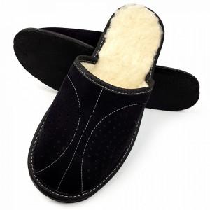 Papuci de Casa din Piele Imblaniti cu Lana de Oaie Culoare Negru Model 'Back to Black' Soft