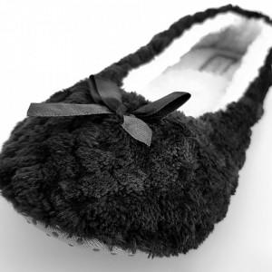 Papuci de Casa Tip Balerini, 'Black Eagle', Balerini Imblaniti Interior