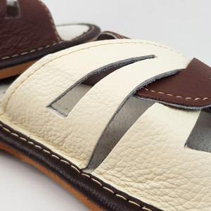 Papuci de Casa Vara din Piele Culoare Crem/Maro Model 'Fulvia'