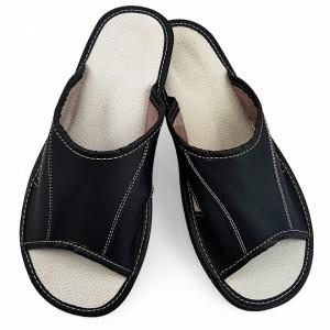 Papuci de Casa Vara din Piele Culoare Negru Model 'Summer Comfort'