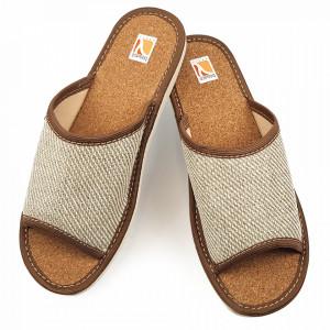 Papuci de Casa Vara din Postav cu Talpa Groasa Culoare Crem Model 'Sequoia'