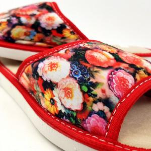 Papuci de Casa Vara Material Textil cu Talpa Groasa Culoare Rosu Model 'Amour Garden'
