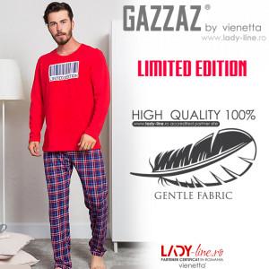 Pijama Barbati Bumbac 100% Gazzaz by Vienetta 'Limited Edition' Red