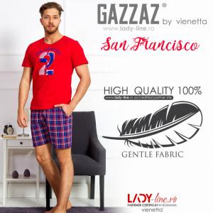 Pijama Barbati Gazzaz by Vienetta, 'San Francisco' Red