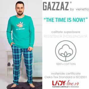 Pijama Barbati Gazzaz by Vienetta, 'The Time is Now' Green