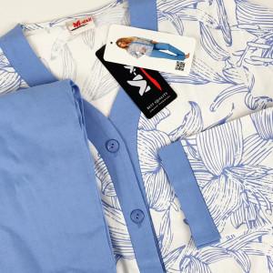 Pijama cu Nasturi Dama M-Max, Bumbac 100%, 'Elegant Blue'