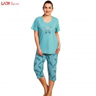 Pijama Dama Vienetta, Bumbac 100%, 'Beautiful' Green