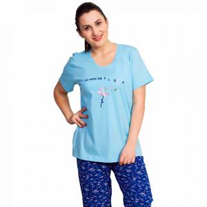 Pijama Dama Vienetta, Bumbac 100%, 'Go With the Flow'