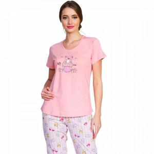 Pijama Dama Vienetta Bumbac 100%, 'Hello My Love' Pink