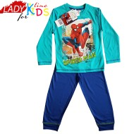 Pijamale Baieti cu Licenta, Model Spider - Man, Producator Marvel France, Bumbac 100%, Culoare Turcoaz, Pijamale Spiderman Maneca si Pantalon Lung