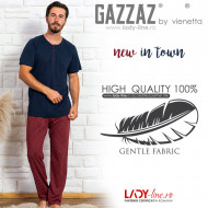 Pijamale Barbati Bumbac 100% Gazzaz by Vienetta 'New in Town'