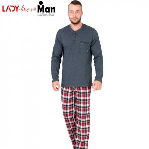 Pijamale Barbati Bumbac 100%, 'Magnetic Antracite', M-Max