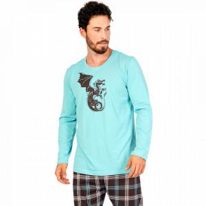 Pijamale Barbati Confortabile Gazzaz by Vienetta Model 'Dragons No Limits' Turquoise