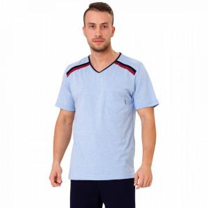 Pijamale Barbati M-Max, Bumbac 100%, 'Athlete' Blue