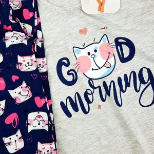 Pijamale Confortabile Marimi Mari Vienetta Model 'Good Morning' Gray