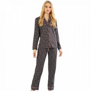 Pijamale cu Nasturi Dama Material Bumbac 100% Model 'This is My Place'