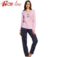 Pijamale Dama Bumbac 100%, 'Queen Of My Life' Pink, Vienetta Secret
