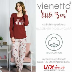 Pijamale Dama Bumbac Vienetta, Model 'Little Bear'