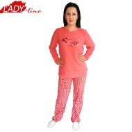 Pijamale Dama Calduroase Maneca Lunga, Model Snow Valley, Producator Benter Fashion Wear, Material Micropolar, Culoare Roz, Pijamale Calduroase Dama Maneca si Pantalon Lung
