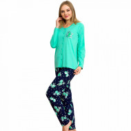 Pijamale Dama cu Nasturi din Bumbac Vienetta Model 'Lemon Girl Power' Green
