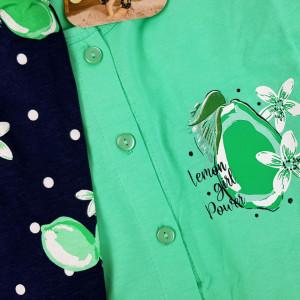 Pijamale Dama cu Nasturi din Bumbac Vienetta Model 'Lemon Girl Power' Green