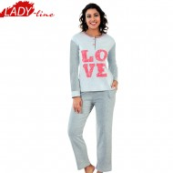 Pijamale Dama Iarna, Model LOVE, Producator Fawn, Interlock Bumbac 100%, Culoare Gri, Pijamale Dama Maneca si Pantalon Lung