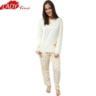 Pijamale Dama Maneca Lunga, Model Yellow & Bright Flowers, Producator Dehai-T, Bumbac 100%, Culoare Galben, Pijamale Dama Maneca si Pantalon Lung