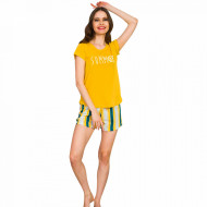 Pijamale Dama Maneca Scurta Vienetta, Bumbac 100%, Model 'Summer' Yellow