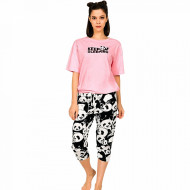 Pijamale Dama Manesca Scurta Pantalon 3/4 Vienetta Model 'Keep Sleeping'