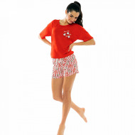 Pijamale Dama Manesca Scurta Pantalon Scurt Vienetta Model 'Pop Pop Corn' Red