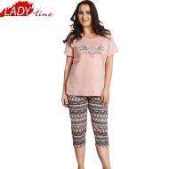 Pijamale Dama Marimi Mari, Model Nina Arabesque, Producator Vienetta Secret, Bumbac 100%, Culoare Bej, Pijamale Dama XXXL