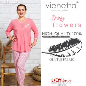 Pijamale Dama Marimi Mari Vienetta Model 'Daisy Flowers' Pink