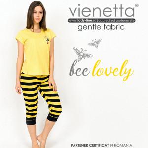 Pijamale Dama Vienetta din Bumbac cu Pantalon 3/4 Model 'Bee Happy'