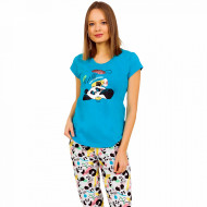 Pijamale Dama Vienetta din Bumbac cu Pantalon 3/4 Model 'Panda's Dream' Blue