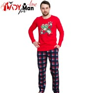 Pijamale Gazzaz by Vienetta, Bumbac 100%, 'Crazy Frog' Red