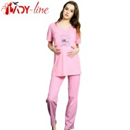 Pijamale Gravide Vienetta Secret, Bumbac 100%, 'Lovely Day' Pink