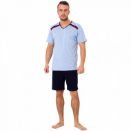 Pijamale Barbati M-Max, Bumbac 100%, 'Athlete' Blue