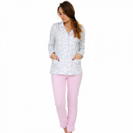 Pajamas Short Sleeve and Pants 3/4, 100% Cotton Material, Model 'Love Is In The Air', Producer Vienetta Secret, Pink Color, Summer Girl Pajamas
