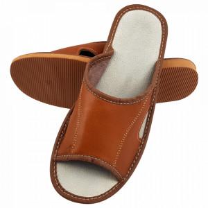 Papuci de Casa Barbati, Sezon Vara, Material Piele, Culoare Maro, Model 'Brown Lion'