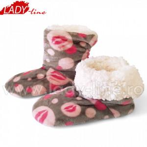 Papuci de Casa Caldurosi Tip Cizmulite, Model 'Fiorucci Fluffy & Love Boots', Culoare Gri, Papuci Interior