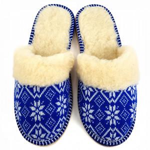 Papuci de Casa Dama Imblaniti cu Lana de Oaie Model 'Blue Tradition'