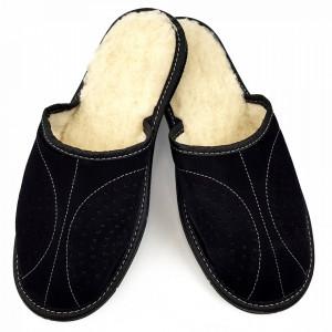 Papuci de Casa din Piele Intoarsa Imblaniti cu Lana Model 'Back to Black' Soft
