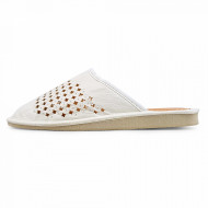 Papuci de Casa Vara din Piele Culoare Alb Model 'White Circles'