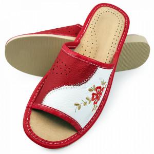 Papuci de Casa Vara din Piele Culoare Visiniu Model 'Kalima Beauty'